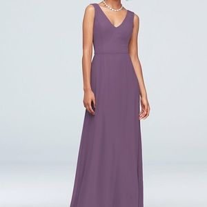 David's Bridal Chiffon V-Neck Bridesmaid Dress